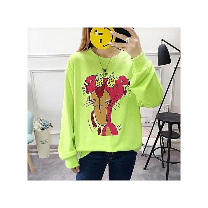 Fashion LIGHT bleu femmes Cartoon Sweater Loose Cotton Casual Blouse à prix pas cher