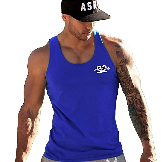 Other New Stylish Men Sleeveless Fitness Vest Breathable Slim Plastic Printed Tops à prix pas cher