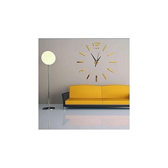 diy horloge murale 3d 60 cm dor au maroc pas cher jumia maroc. Black Bedroom Furniture Sets. Home Design Ideas