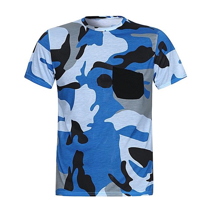 Fashion Men's  Summer Casual Camouflage Pocket Short Sleeve T-Shirt Muscle Blouse Top à prix pas cher