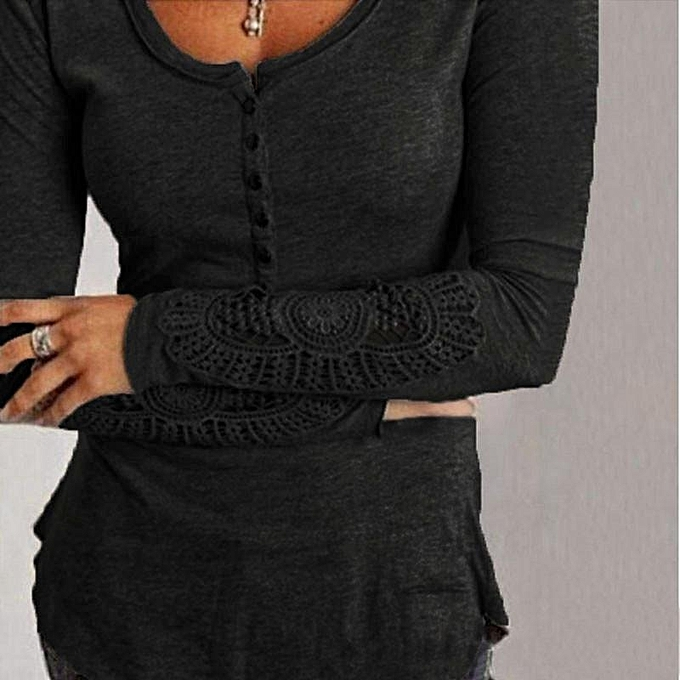 Zanzea ZANZEA Spring Autumn femmes Casual Blouses Shirts Embroidery O Neck Long Sleeve Lace Splice Tee Tops Plus Taille bleusas (noir) à prix pas cher