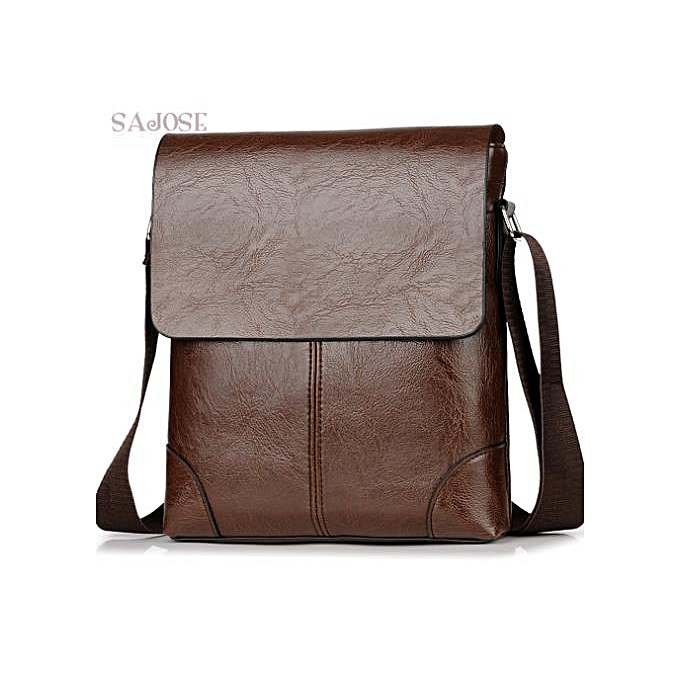 Other Crossbody Bags For Men's PU Leather Shoulder Bag Casual Vintage 2 Sets Fashion Business High Quality HandBags Men Messenger Bags(small-marron) à prix pas cher