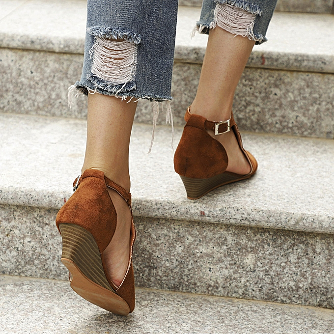 mode (Xiuxingzi) Wohommes chaussures Platform Wedge Sandals Ankle Strap Peep Toe High Heel chaussures à prix pas cher