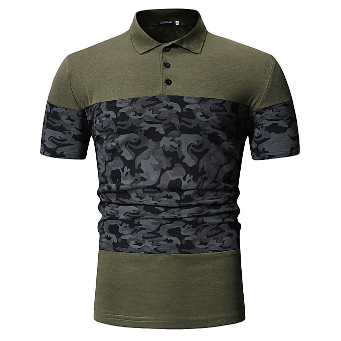 Fashion whiskyky store Men's Summer Camouflage Button Patchwork Short Sleeved T-shirt Top Blouse à prix pas cher