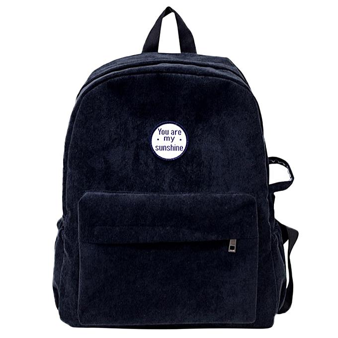 Fashion blicool travel wallet femmes Girls Preppy Corduroy Shoulder Bookwallets School Travel Backpack wallet-noir à prix pas cher