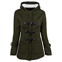 e514e471bda Women Hooded Long Section Wool Blend Jacket With Leather Ox Horn Shape  Buckle