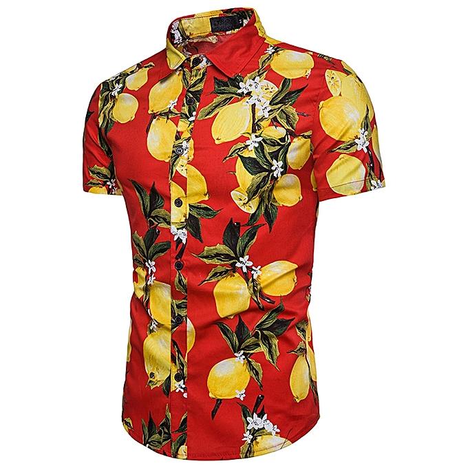 mode Jummoon Shop  Personality Hommes& 039;s Décontracté Slim manche courte Fruit Printed Shirt Top chemisier à prix pas cher