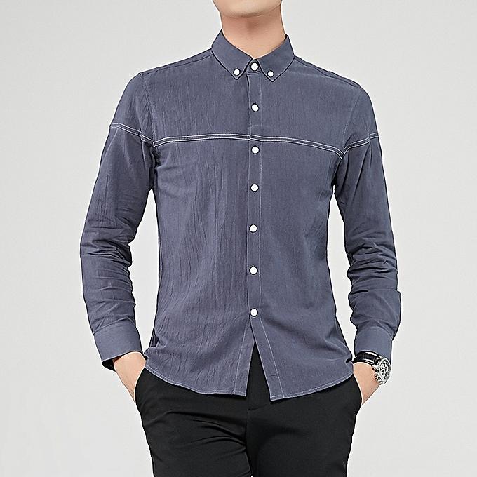 Tauntte Cotton Men Shirts Long Sleeve Slim Formal Shirts (gris) à prix pas cher