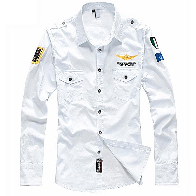 Fashion Men's Casual Embroidery Military Pure Couleur Pocket Long Sleeve T-shirt Tops à prix pas cher