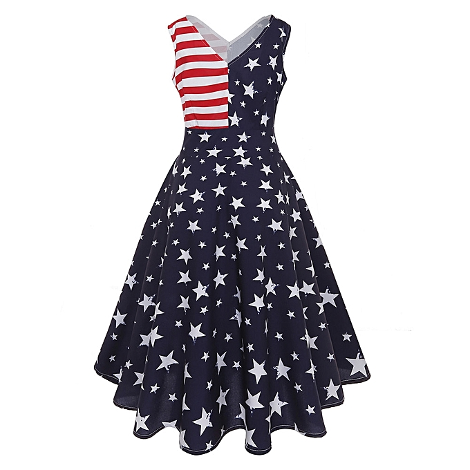 mode Sedectres Shop femmes Vintage Sleeveless V Neck Flag impression Evening Party Prom Swing Robe à prix pas cher