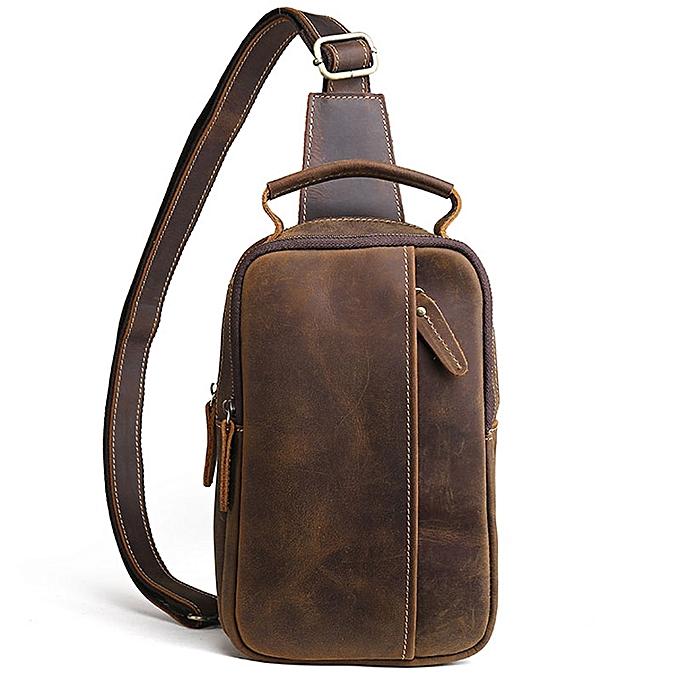 Other 2019 Men Vintage Crazy Horse  Leather Cowhide Sling Chest Back Bag Handbag Cross Body Messenger Shoulder Pack Travel Bag(marron) à prix pas cher