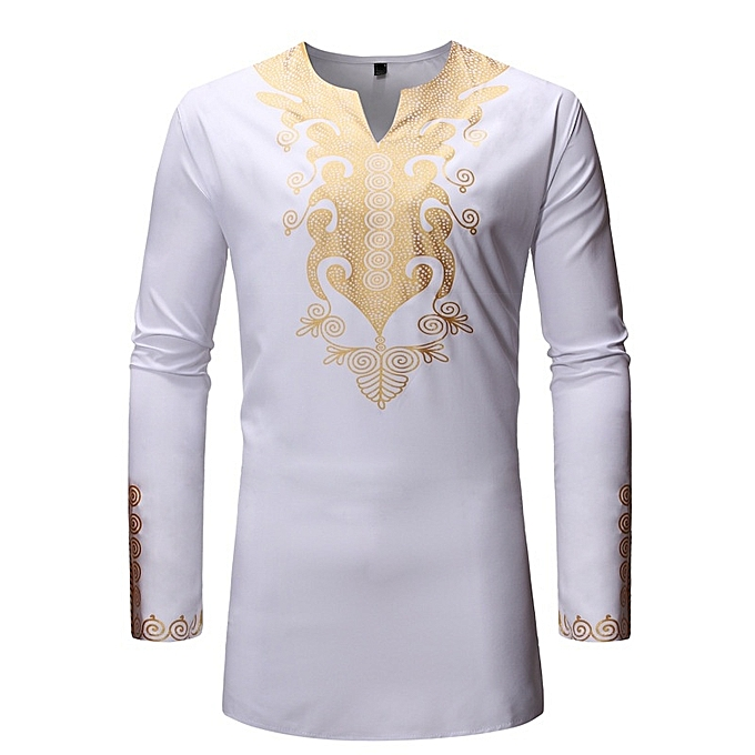 Other New Stylish Men's Long Sleeve Shirts European Taille African Style Men's Shirt -blanc à prix pas cher