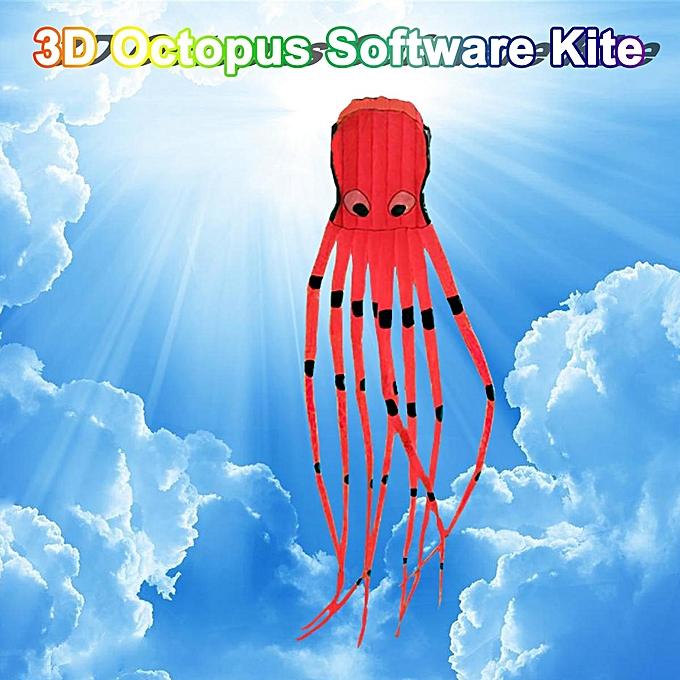 UNIVERSAL 3D Octopus Kite 3D Cartoon Software Kite Outdoor 3D Kite 4 Colours à prix pas cher