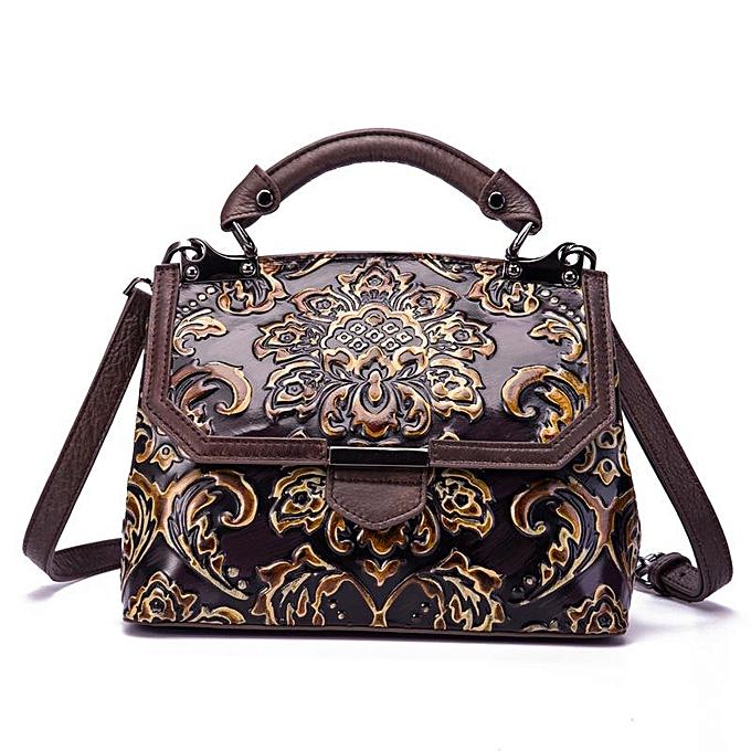 Fashion Cowhide female bag top layer vintage embossed Couleur one shoulder slung handbag à prix pas cher