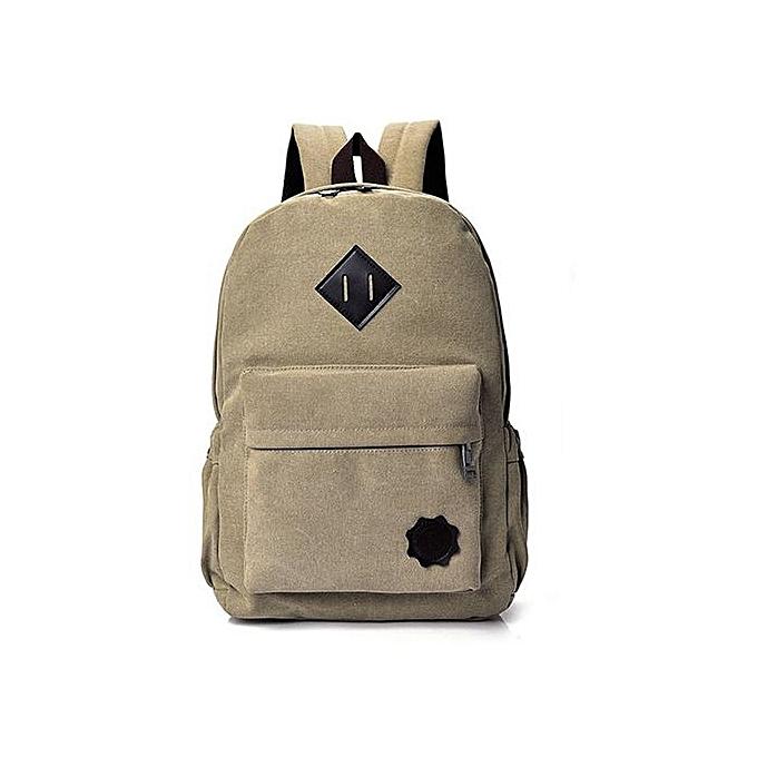 mode SingedanNeutral toile sac à dos School Lady Hommes voyage Student School Laptop sac  Khaki -Khaki à prix pas cher