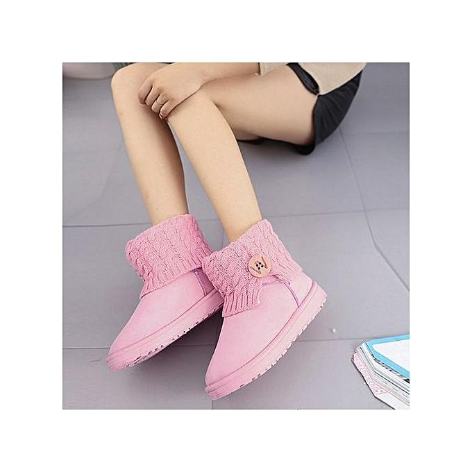 Fashion Hiamok_femmes Flat Ankle Knitting Wool bottes Winter Warm Snow chaussures rose 36 à prix pas cher    Jumia Maroc