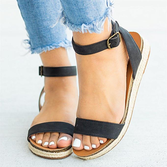 Fashion (Xiuxingzi) Wohommes Ladies Strap Ankle Buckle Flatform Wedges Woven Sandals Roman chaussures à prix pas cher    Jumia Maroc