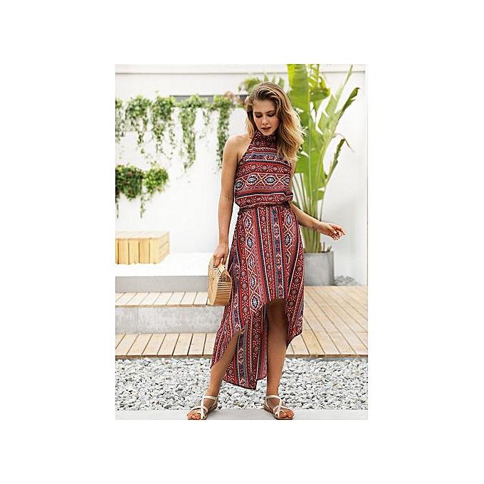 AFankara rouge femmes Halter Dress Printed Beach Dresses à prix pas cher
