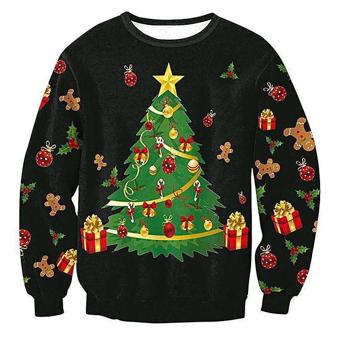 Fashion jiahsyc store femmes Plus Taille Merry  Christmas Tree Long Sleeve Sweatshirt Tops Blouse Shirt-noir à prix pas cher