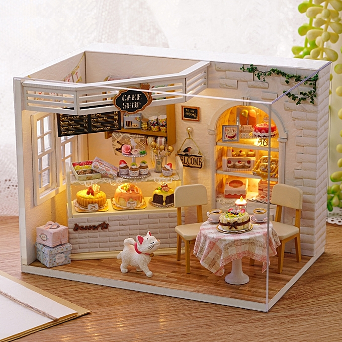UNIVERSAL CuteRoom H-014 Cake Diary Shop DIY Dollhouse With Music Cover Light House Model- à prix pas cher