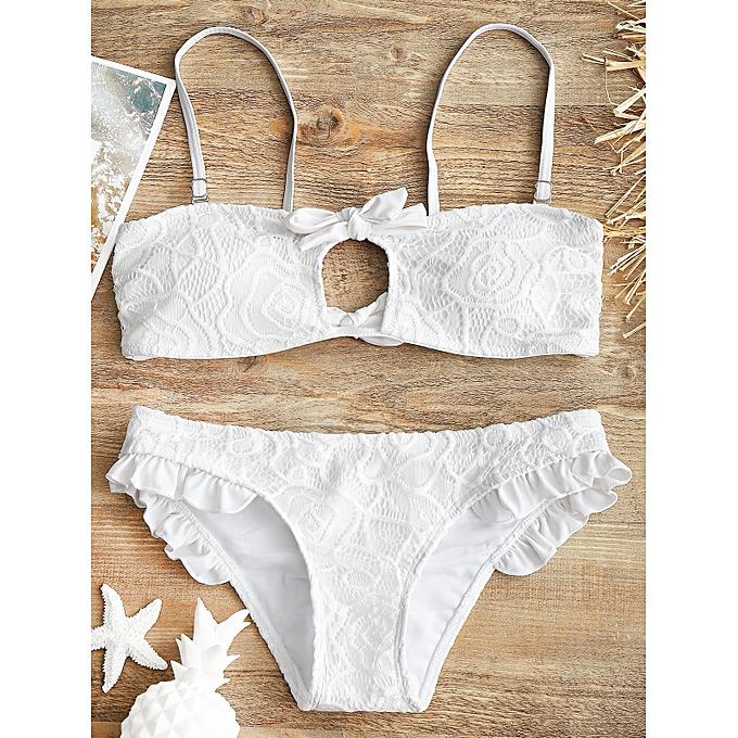 Generic HL Lace Overlay Padded Bikini Set (blanc) (L, M, S) à prix pas cher