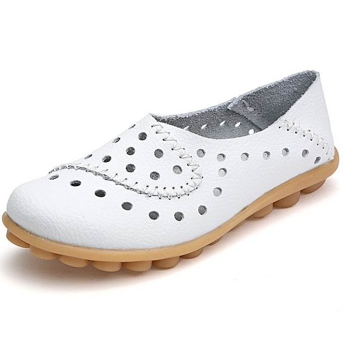 Other Stylish Taille 35-44 Summer Leather Hole chaussures Breathable Flat Bean chaussures-blanc à prix pas cher    Jumia Maroc