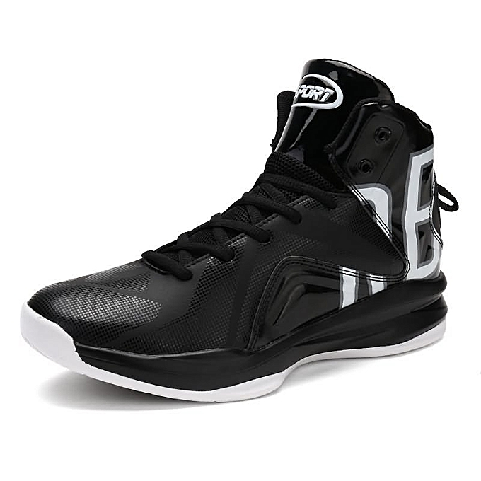 Fashion Men's Ankle High-Top Sports Basketball chaussures - noir and blanc à prix pas cher