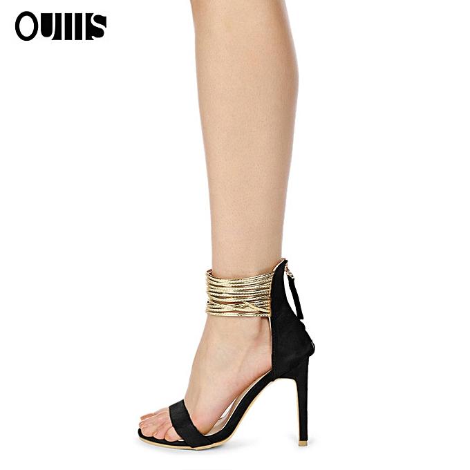 mode Suede fish mouth high heel sandals noir à prix pas cher