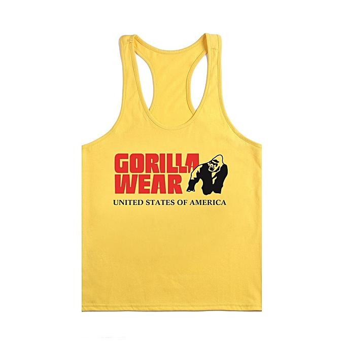 Other New Stylish New European Men's Tight Fitting Bodybuilding Training Cotton Sweat Vest-jaune and noir à prix pas cher