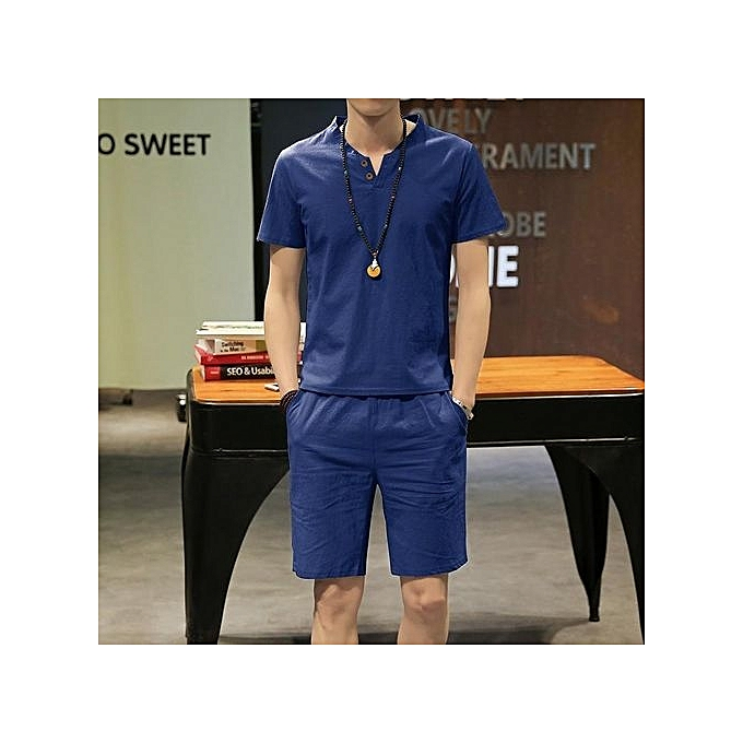 Generic Hommes& 039;s Cotton Linen manche courte Top And courte Pants Suit (Navy bleu) à prix pas cher