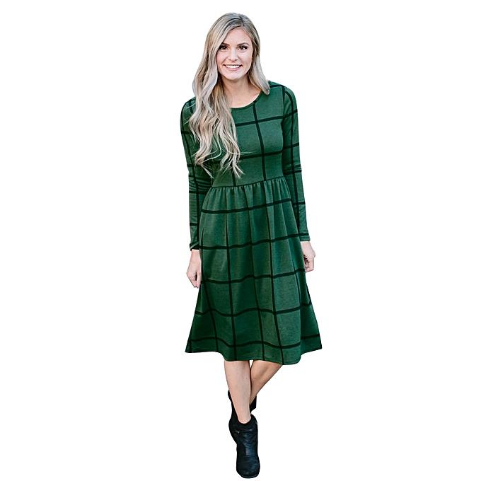 Fashion jiahsyc store  femmes Spring Casual Plaid Lattice Long Sleeve Loose Dress-vert à prix pas cher