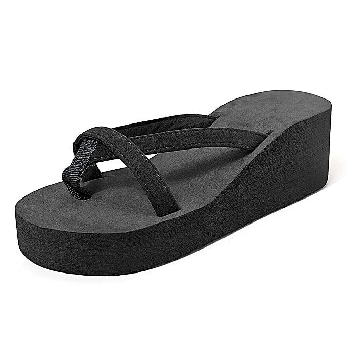 Fashion Large Taille Pure Couleur Wedge Platform Sandals Casual Beach Slippers à prix pas cher