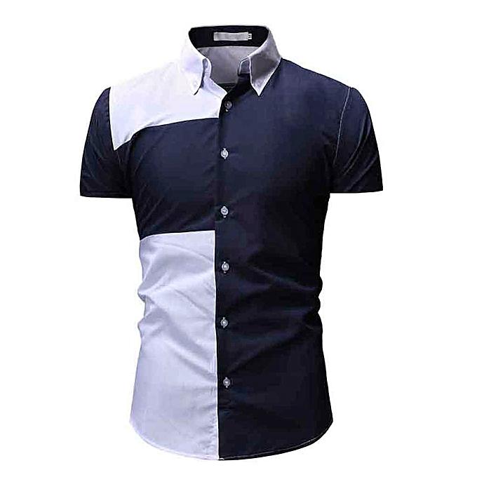 Fashion Men's Patchwork Short Sleeve Shirt Casual Button Down Top Blouse à prix pas cher
