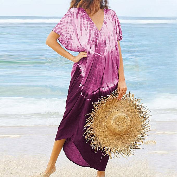 mode femmes Décontracté été Printed manche courteless plage Robe Sun Robe à prix pas cher
