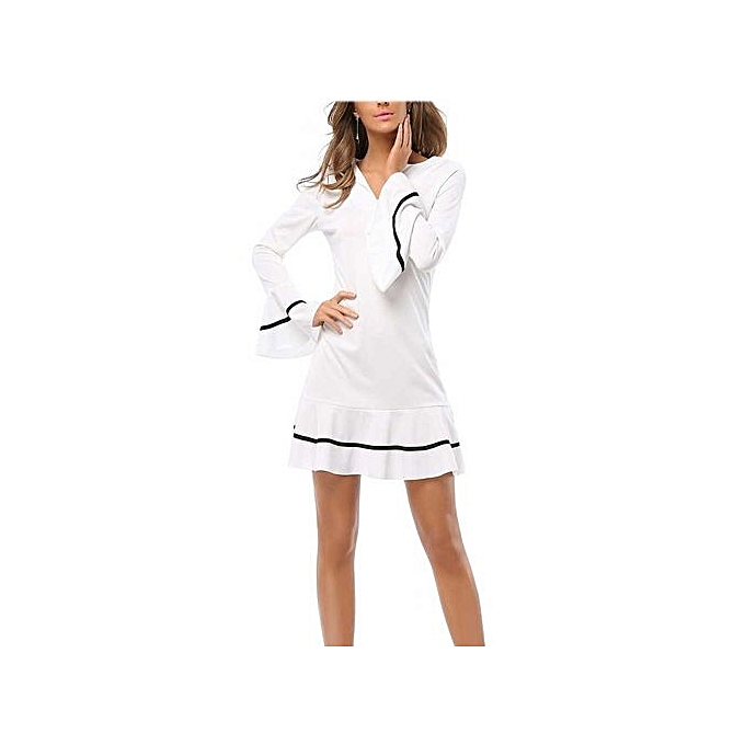 Generic HL Skinny Long Slim Flare Sleeve Dress For Ladies (blanc)(S-XL) à prix pas cher