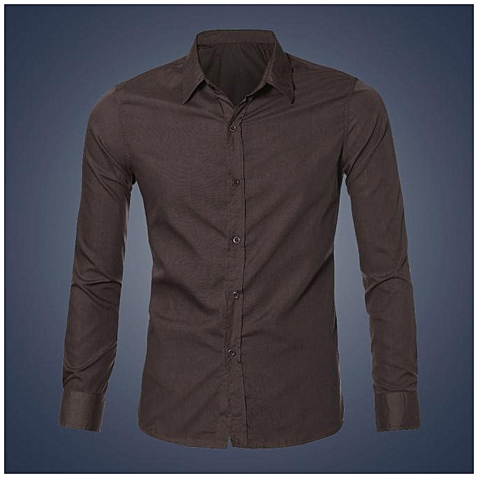 Cuena Mens Luxury Stylish Casual Dress Slim Fit T-Shirts Casual Long Sleeve CO XL-Coffee à prix pas cher