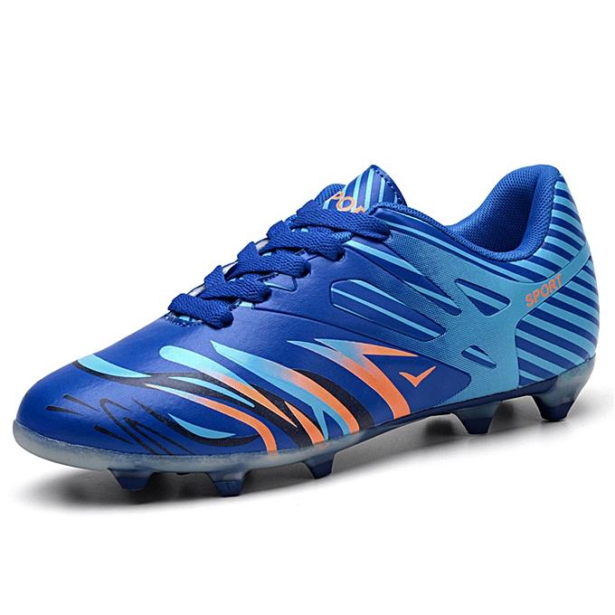 mode Hommes and femmes couples teen spike training bottes soccer chaussures - bleu à prix pas cher