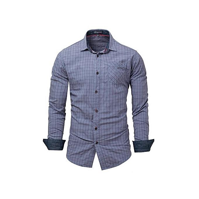 Generic Hommes& 039;s Gingham Button-Front Shirt (gris) à prix pas cher