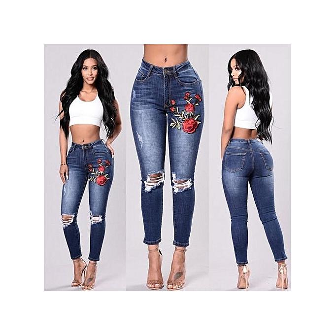 Generic Couleur elastic embroiderouge denim waist pants female casual pocket skinny pencil jean pants jeans femmes trousers-dark bleu à prix pas cher