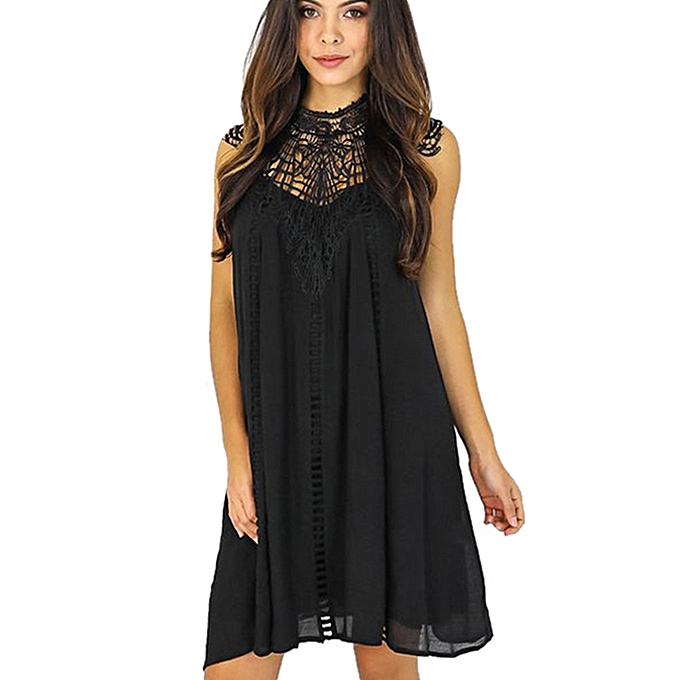 mode femmes Lace HolFaible Out Sleeveless Evening Party Mini Robe BK S à prix pas cher
