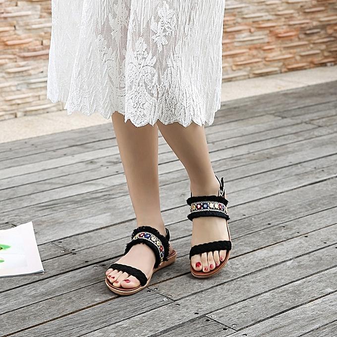 Other Stylish Summer Fashion Rohomme Ethnic Style Leisure Weave Sandals-noir à prix pas cher