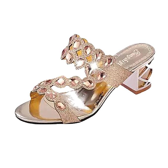 Fashion Blicool Shop femmes Sandals Summer Fashion femmes Girl Big Rhinestone High Heel Sandals Ladies Beach Sandal -noir à prix pas cher
