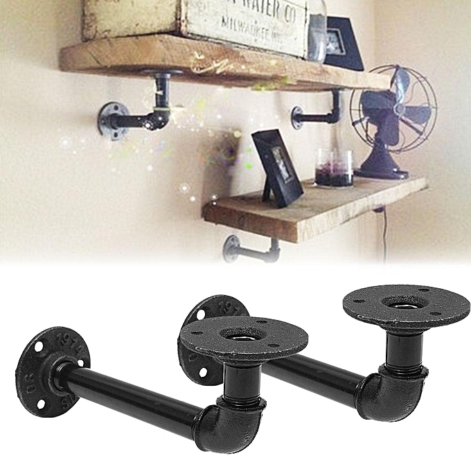 UNIVERSAL 1Pcs Vintage Retro noir Iron Industrial Pipe Shelf Bracket Holder Home Decor à prix pas cher