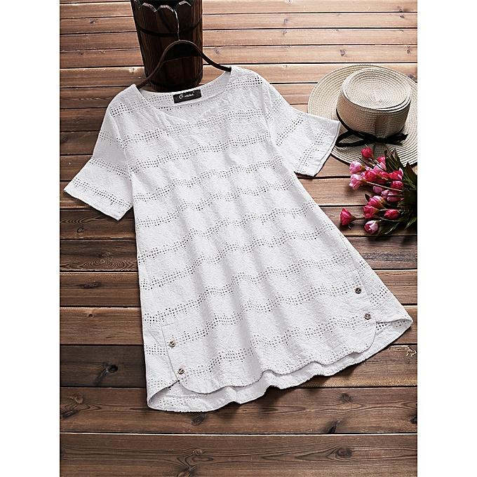 mode Plus Taille femmes V-neck Embroiderouge Crochet Shirts à prix pas cher