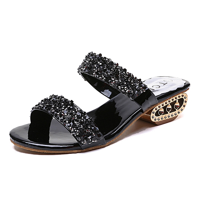 Fashion whiskyky store Wohommes Ladies Sequins Bling Low Heel Beach Sandals Roman chaussures Slippers à prix pas cher    Jumia Maroc