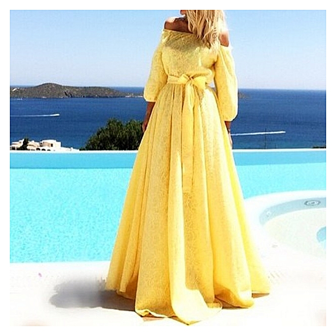 OEM Refined Lace Tube Top Long mode Evening Robe Lacoste Long Robe-jaune à prix pas cher