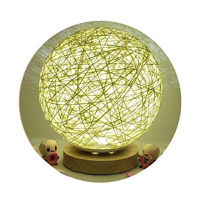 Generic Fashion Rattan Ball Night Light USB Charging Rohommetic Lamp for Bedroom warm blanc à prix pas cher