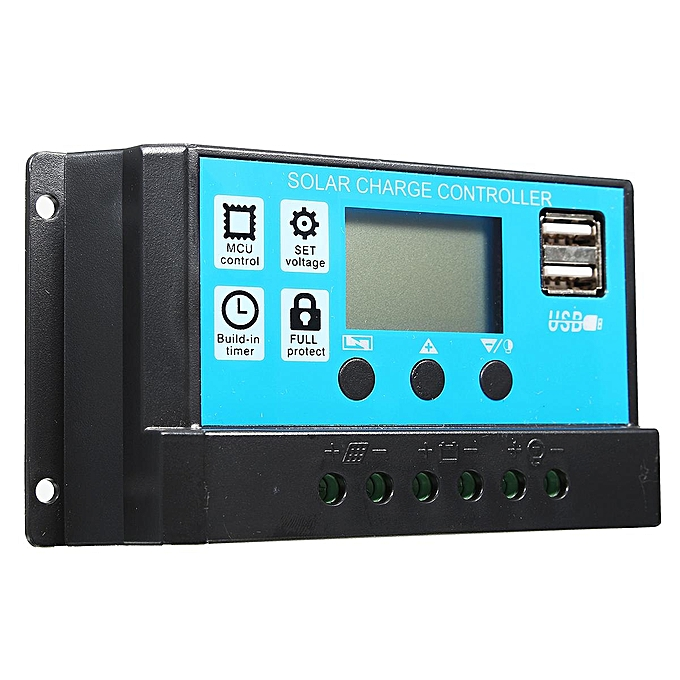 UNIVERSAL 10 20 30A 12 24V LCD PMW Solar Charge Controller Battery Regulator 2 USB Backlit 20A à prix pas cher