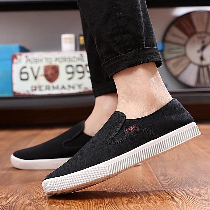Fashion Breathable Mens chaussures Canvas Slip On Summer Casual Comfort New Fashion Low Top noir-EU à prix pas cher
