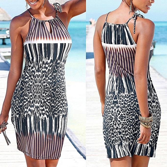 mode femmes Halter Neck Boho Print Sleeveless Décontracté Mini plagewear Robe SunRobe à prix pas cher